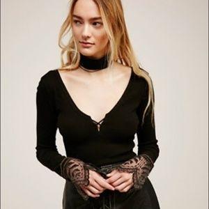 Free People 'Last Dance' lace cuff top in Black
